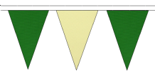 MID GREEN AND BEIGE TRIANGULAR BUNTING - 10m / 20m / 50m LENGTHS